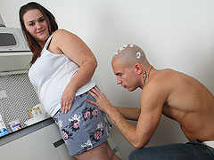 He calls his fat fuck buddy and she comes over to bake a cake and take a cock in her cunt