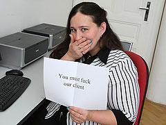 The BBW chick in the office lets him kiss her all over and put his dick meat into her hole