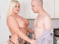 Sweet-looking BBW blonde housekeeper fucked by her employer in the kitchen