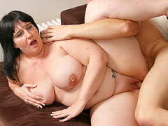 Super curvy BBW brunette slut gets some serious dicking from a random guy