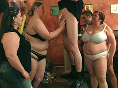 BBW group scene has three big girls and three guys get it on and everyone can cum to that.