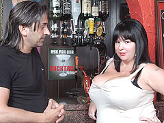 Giant brunette plumper working as barmaid hooks up with a client and gets done