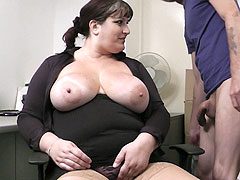 Hot silly fattie in business outfit pleases her hard horny boss for a payrise