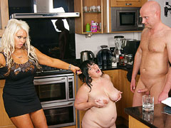 Brunette BBW slut gets her friends hubby eat cream off her massive mounds