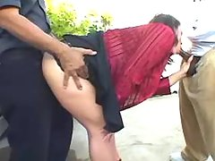 Busty fat slut sucks cocks outdoor