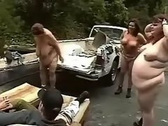 Obese women wash car and suck cocks