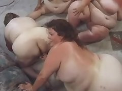Superfat mature women in crazy orgy