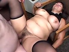 Chubby whore with hairy pussy fucks
