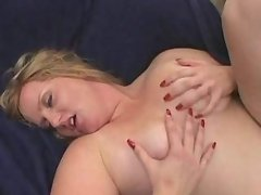 Two dudes share busty chubby blonde