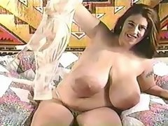 Cutie milks unbelievable huge tits