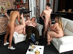 Hot BBW party girls are drunk and letting the young guys have their way with them