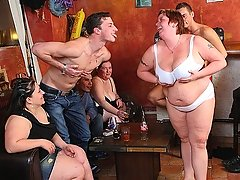 The great BBW orgy features fatties with great bodies having sex in the bar and taking it deep