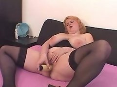 Chubby milf with dildo seduces guy